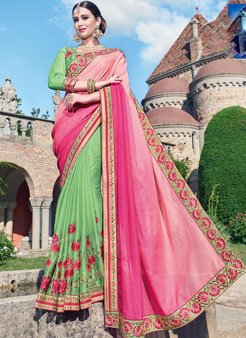 Affluent Pink Brasso Party Wear Embroidery Work Saree