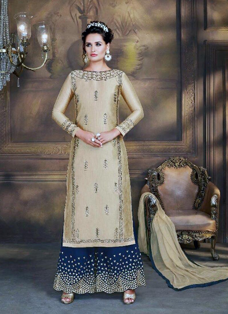 Lovely Golden Silk Plazo Churidar Suit