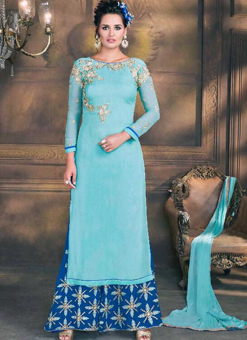 Absorbing Sky Blue Georgette Plaza Churidar Suit