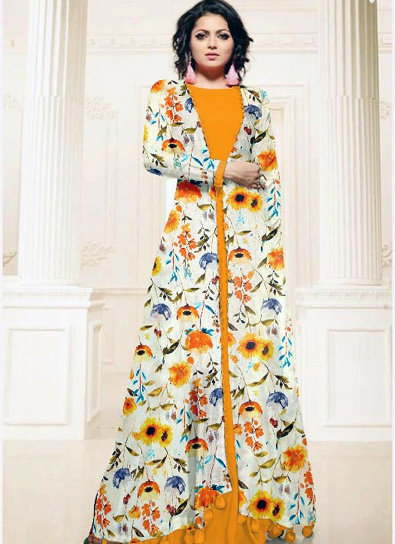 Vibrant Yellow Cotton Silk Printed Work Kurti