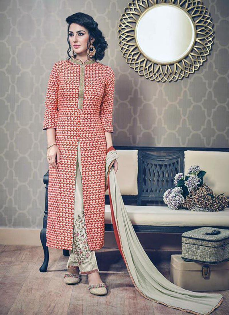 Desirable Peach Silk Printed Work Plazo Churidar Suit