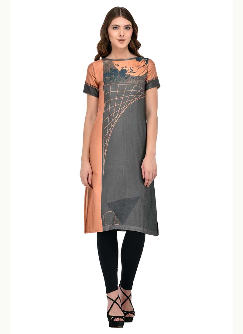 Heavenly Gray Cotton Office Wear Printed Work Kurti