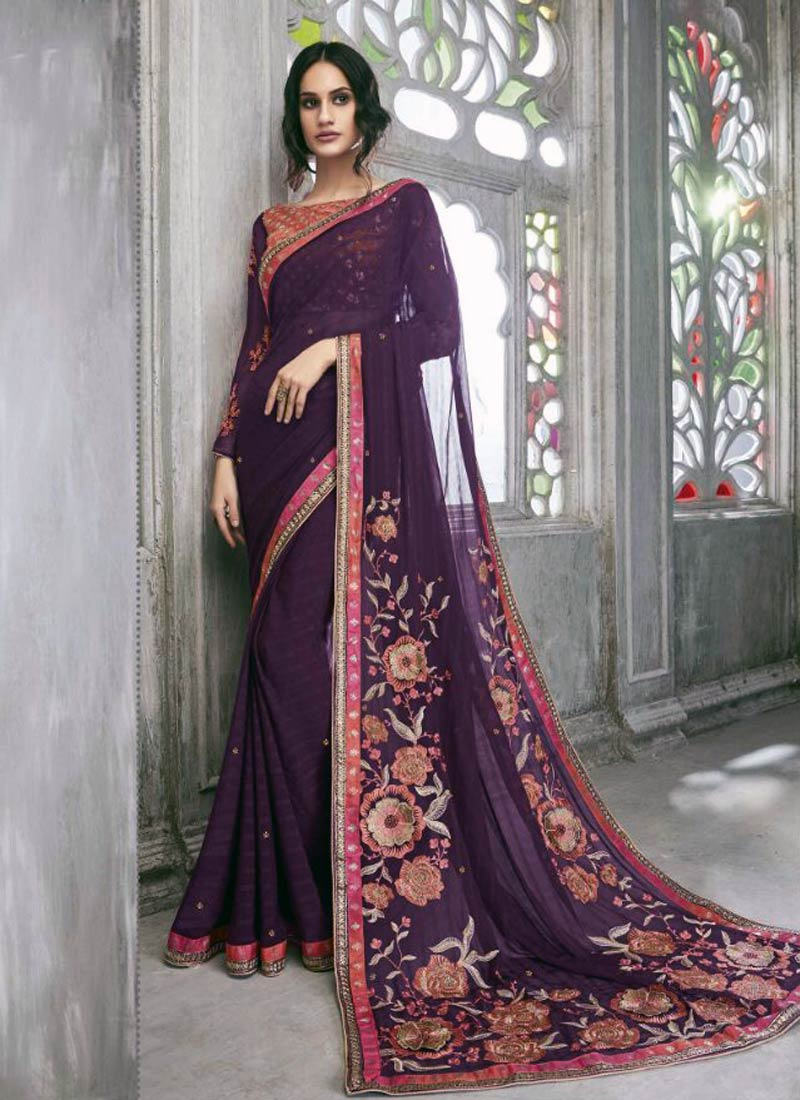 Glorious Maroon Faux Georgette Embroidery Work Saree