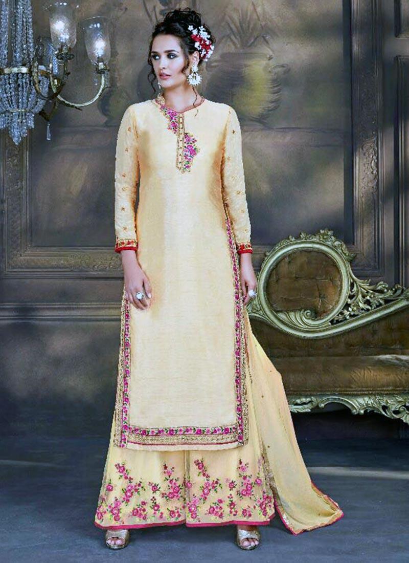 Smoothing Beige Bhagalpuri Silk Plazo Churidar Suit