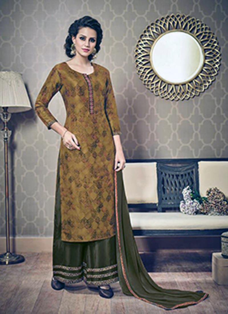 Smashing Mustard Silk Printed Work Plazo Churidar Suit
