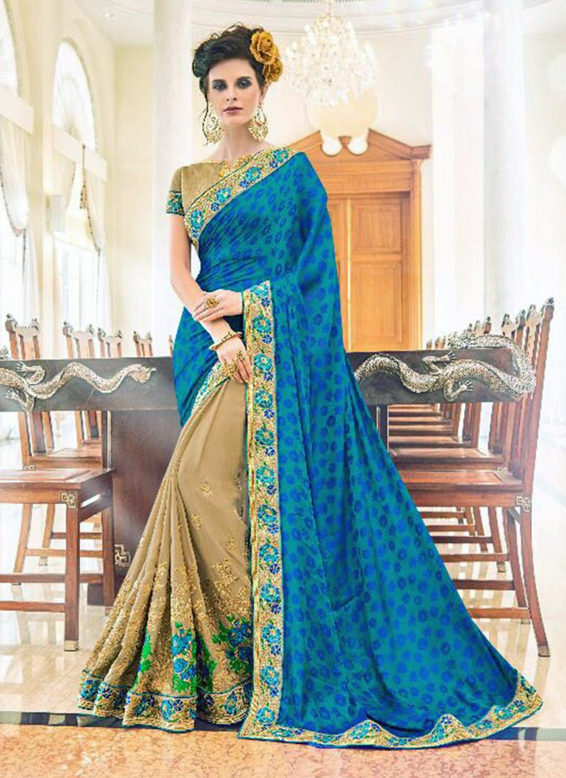 Dazzling Blue Fancy Georgette Embroidery Work Saree
