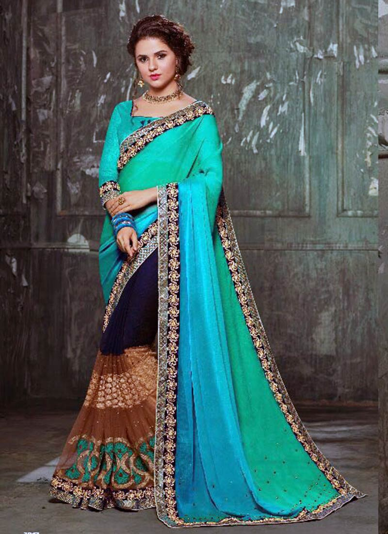 Majestic Multi Color Georgette Silk Embroidery Work Saree