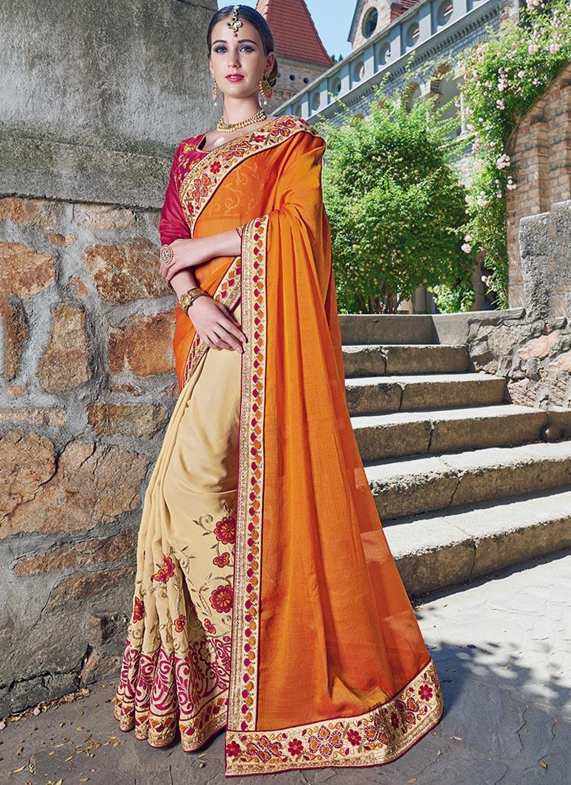 Amazing Orange Chiffon Party Wear Embroidery Work Saree