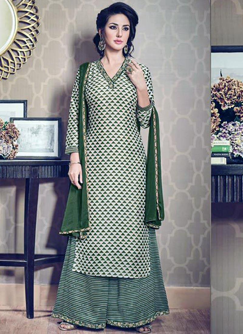 Charming Green Silk Printed Work Plazo Churidar Suit