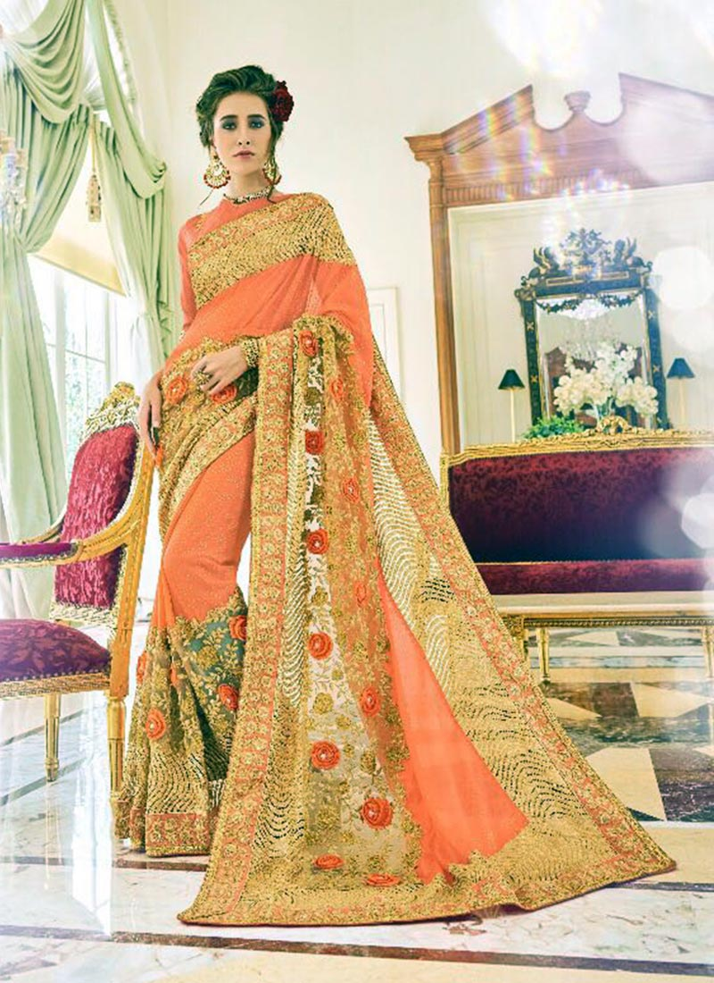 Charming Orange Fancy Georgette Embroidery Work Saree