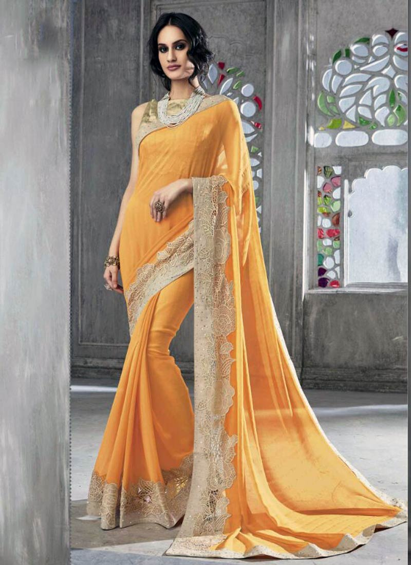 Lovely Yellow Faux Georgette Embroidery Work Saree