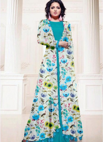 Pretty Sky Blue Cotton Silk Printed Work Kurti
