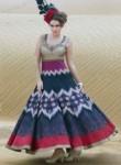 Smashing Gray Banarasi Silk Party Wear Printed Gown