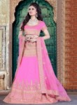 Absorbing Pink Silk Embroidery Work Lehenga Choli
