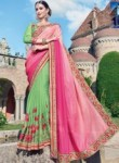 Affluent Pink Brasso Party Wear Embroidery Work Saree
