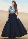 Pretty Navy Blue Silk Party Wear Hand Work Gown