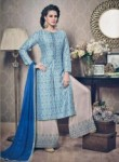 Invaluable Sky Blue Silk Printed Work Plaoa Churidar Suit