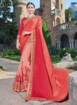 Charming Peach Jacquard Party Wear Embroidery Work Saree