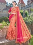 Attractive Peach Georgette Party Wear Embroidery Work Saree