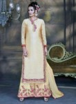Smoothing Beige Bhagalpuri Silk Plazo Churidar Suit