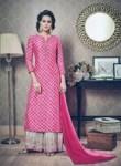 Ravishing Pink Silk Printed Work Plazo Churidar Suit