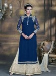 Alluring Navy Blue Georgette Plazo Churidar Suit