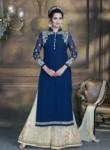 Alluring Navy Blue Georgette Plazo Churidar Suit