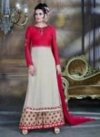 Captivating Beige Georgette Plazo Churidar Suit