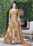 Stunning Yellow Net Embroidered Work Designer Gown