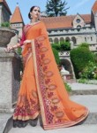 Smashing Orange Georgette Party Wear Embroidery Work Saree