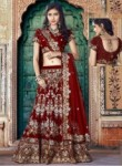 Interesting Maroon Velvet Embroidery Work Lehenga Choli
